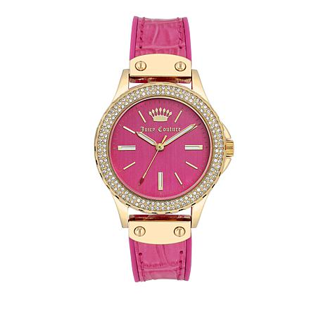 Juicy Couture Hot Pink Dial Crystal Bezel Hot Pink Leather Strap Watch