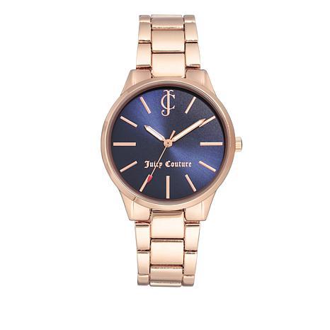 Juicy Couture Navy Blue Dial Rosetone Bracelet Watch