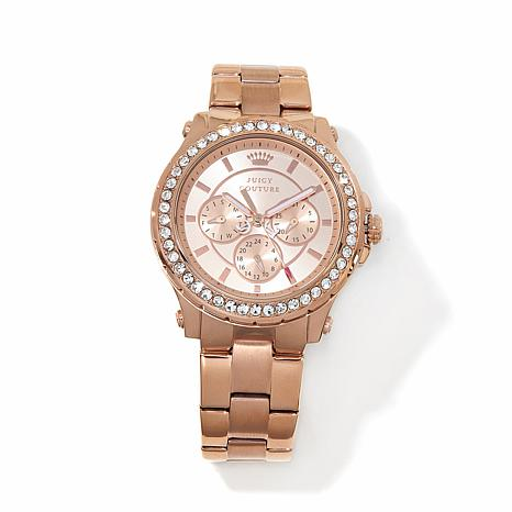 Juicy Couture Rosetone Crystal Bezel 3-Subdial Watch