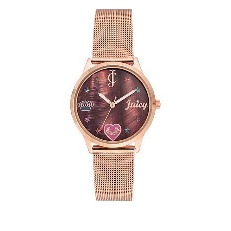 Juicy Couture Rosetone Juicy Logo Mesh Bracelet Watch