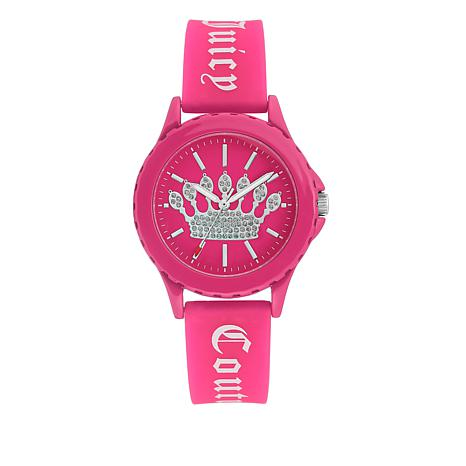 Juicy Couture Women's Hot Pink Logo Strap Sparkle Crown Watch
