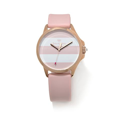Juicy Rosetone Bezel Pink & White Striped Dial Watch