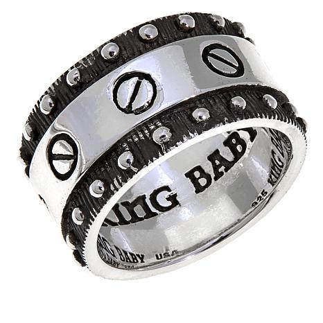 King Baby Jewelry Sterling Silver Flat Screw Band Ring