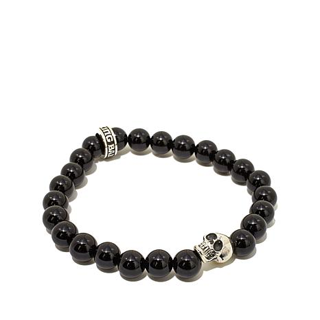 King Baby Sterling Silver Gem Bead and Skull Bracelet