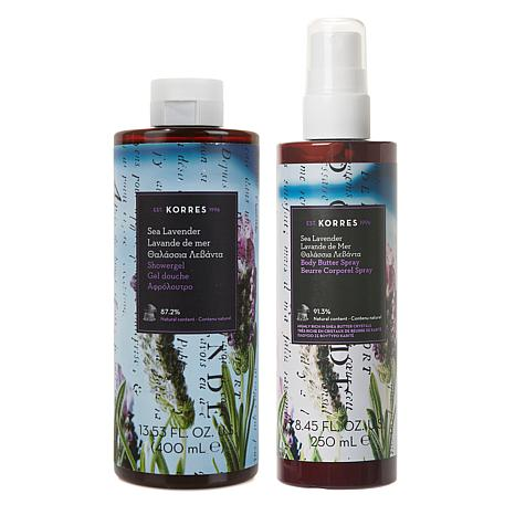 Korres Sea Lavender Smoothing Body Butter Spray and Shower Gel Set