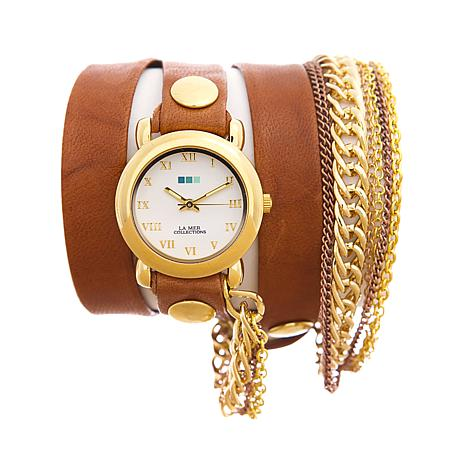 La Mer Arizona Tobacco Chain Leather Wrap-Design Watch