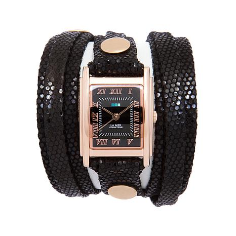 La Mer Rosetone Sequin-Embossed Leather Wrap Watch