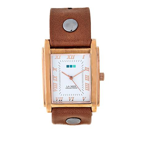 La Mer Rosetone Tank Case Brown Leather Strap Watch