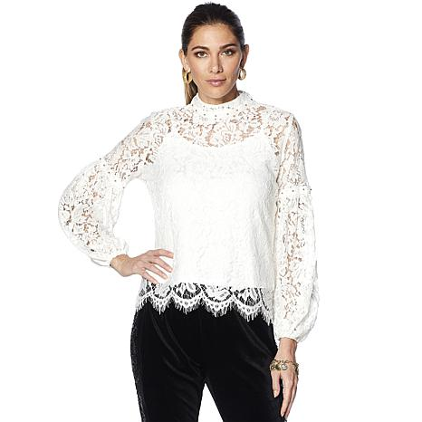 LaBellum by Hillary Scott Balloon Sleeve Lace Blouse