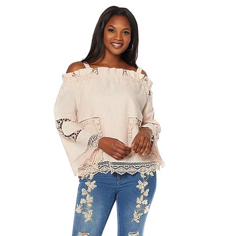LaBellum by Hillary Scott Cold-Shoulder Eyelet Top