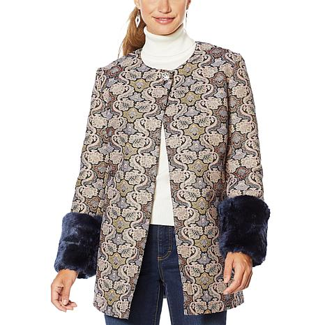 LaBellum by Hillary Scott Jacquard Topper with Faux Fur