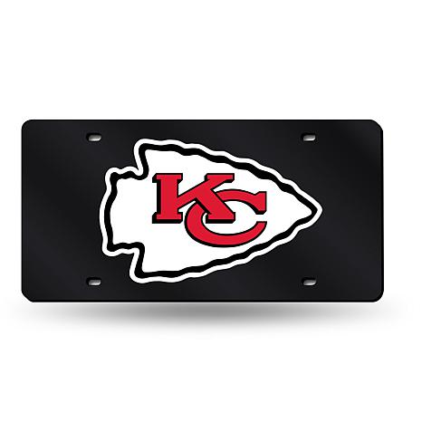 Laser-Engraved Black License Plate - Kansas City Chiefs