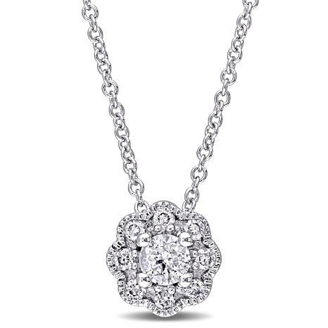 Laura Ashley 0.23ctw Diamond Flower-Design 10K Necklace