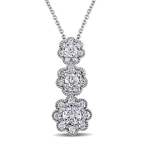 Laura ashley 097ctw diamond 3 flower drop 10k white gold necklace laura ashley 097ctw diamond 3 flower drop 10k necklace mightylinksfo