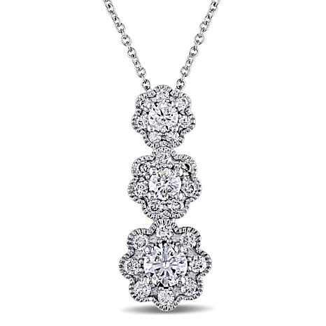Laura Ashley 0.97ctw Diamond 3-Flower Drop 10K Necklace