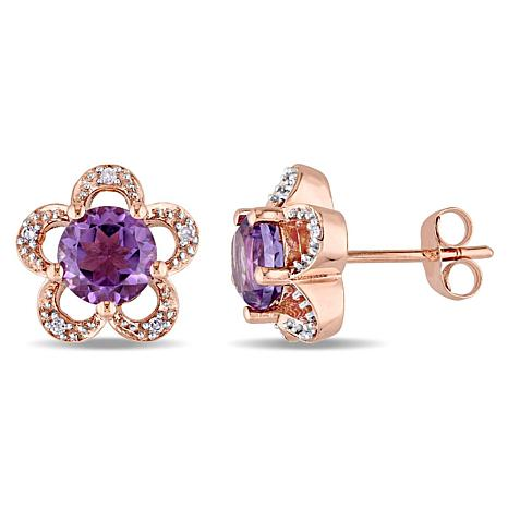 Laura Ashley 1.35ctw Amethyst and Diamond 10K Earrings