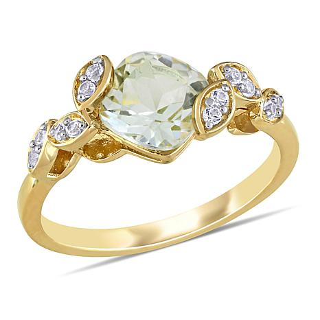 Laura Ashley Green Amethyst and Created White Sapphire Crossover Ring
