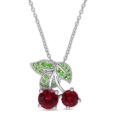 Laura Ashley Sterling Silver Created Ruby & Tsavorite Cherry Necklace