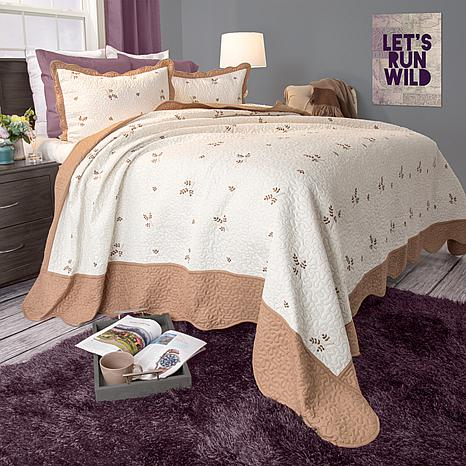 Lavish Home 2-piece Peyton Embroidered Quilt Set - Twin