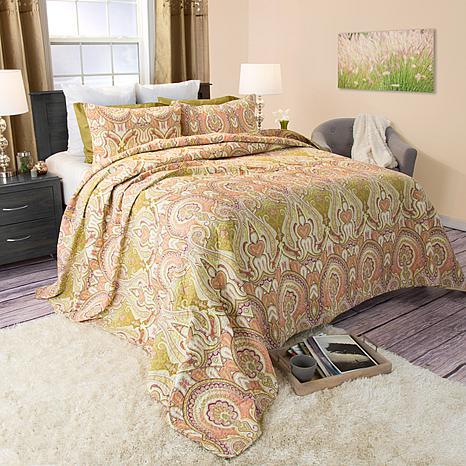 Lavish Home 3-piece Ava Cotton Quilt Set - Full/Queen