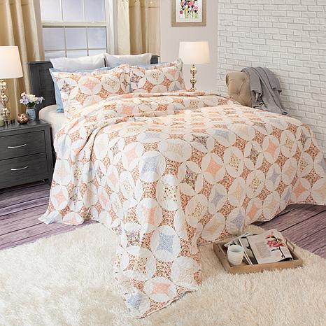 Lavish Home 3-piece Charlotte Quilt Set - Full/Queen