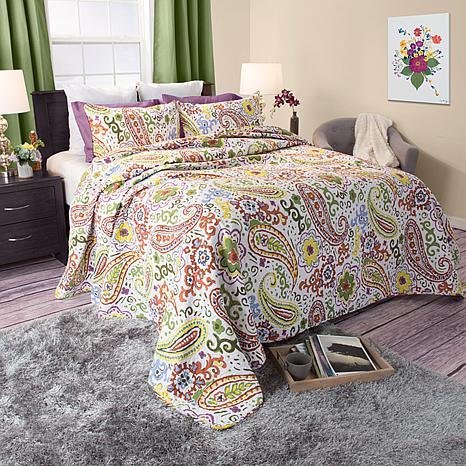 Lavish Home 3pc Trista Cotton Quilt Set - Full/Queen