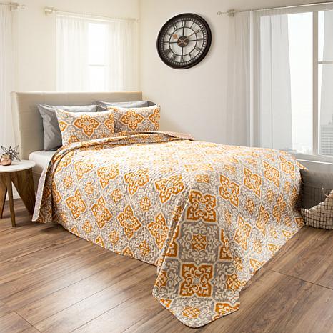 Lavish Home 3pc Vivian Reversible  Quilt Set - Full/Queen