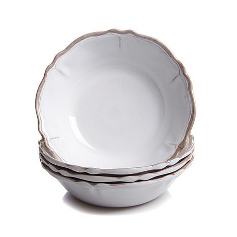 Le Cadeaux S/4 Rustica & White Scalloped Cereal Bowls