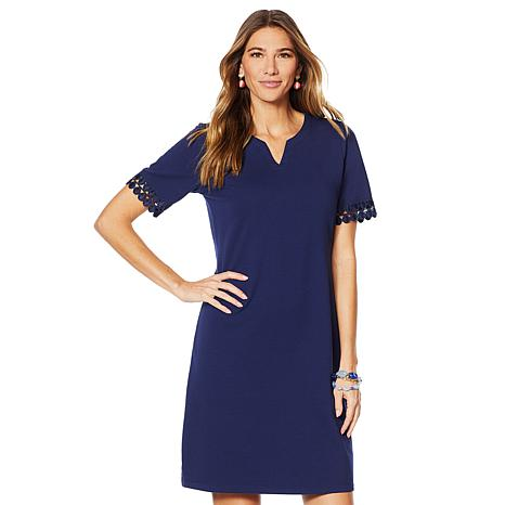 Lemon Way Elbow-Sleeve Shift Dress with Lace Trim