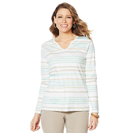 Lemon Way Perfect Pima Striped Split Neck Tee