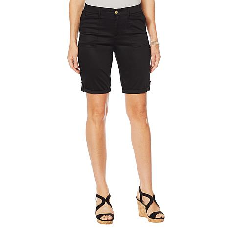 Lemon Way Stretch Cotton Roll-Tab Utility Short