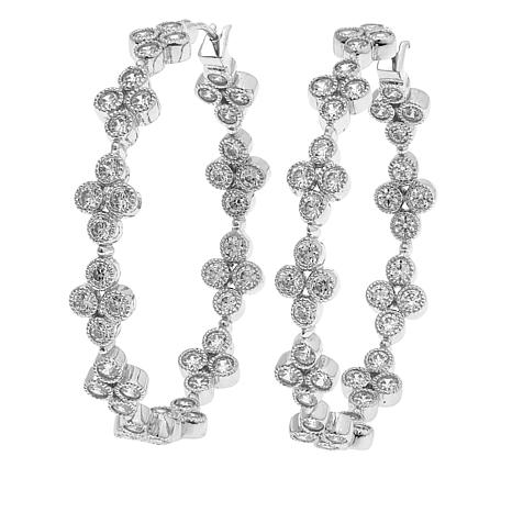 "Leslie Greene Cubic Zirconia ""Addison"" Cluster Hoop Earrings"