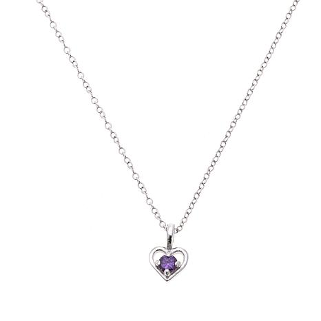 "Lily Nily Girl's .12ctw Amethyst Heart Pendant with 13"" Chain"