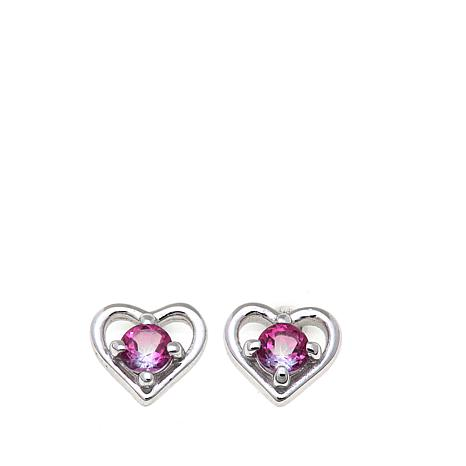 Lily Nily Girl's .36ctw Pink Topaz Heart Stud Earrings
