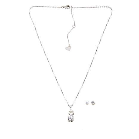 Lily Nily Girl's .50ctw Clear CZ Cat Pendant with CZ Stud Earrings