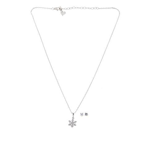 Lily Nily Girl's Clear CZ Snowflake Pendant and Stud Earrings