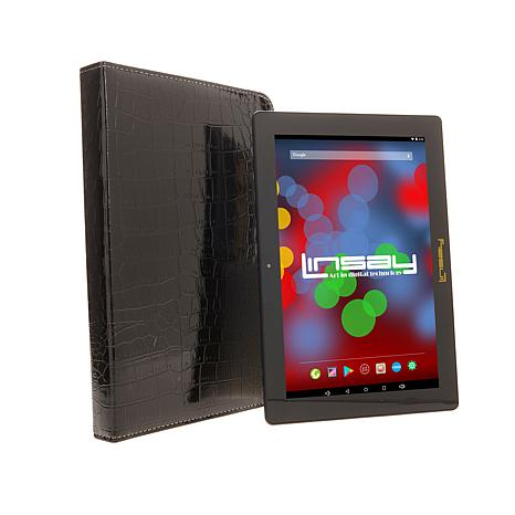 "LINSAY 10.1"" IPS 16GB Quad-Core Android Tablet Bundle"