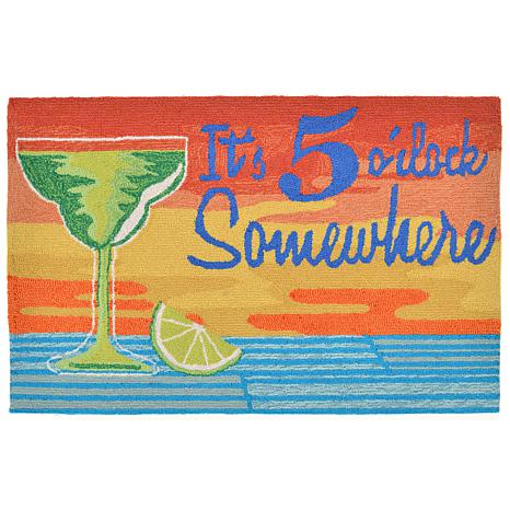 "Liora Manne 20"" x 30"" Frontporch It's 5 o'clock Doormat"