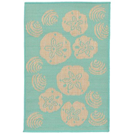 """Liora Manne Terrace Shell Toss 23"""" x 35"""" Rug- Turquoise"""