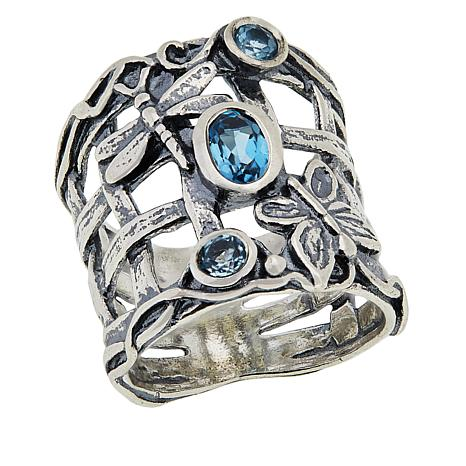 LiPaz Sterling Silver Blue Topaz Butterfly Open Basketweave Band Ring