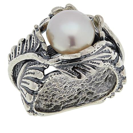 """LiPaz Sterling Silver Freshwater Pearl """"Leaves"""" Ring"""