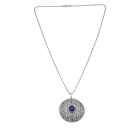 LiPaz Sterling Silver Lapis Circle Pendant with Chain