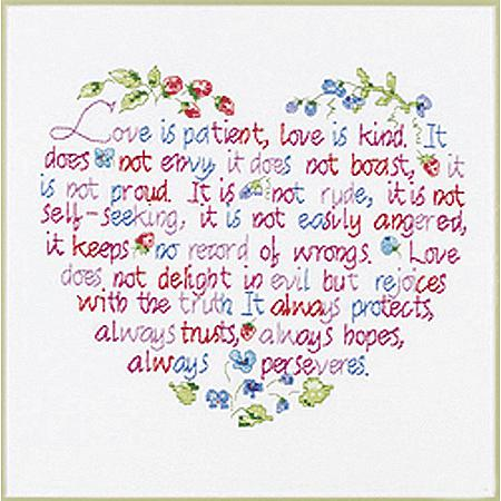 Love Is Patient Stamped Cross Stitch Kit - 12X10