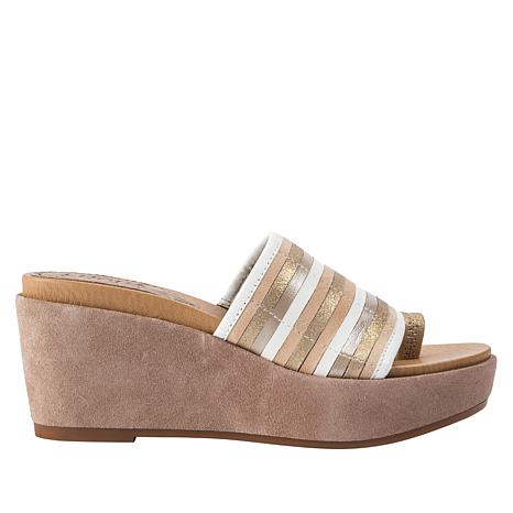 Lucca Lane Leanore Striped Leather Wedge Slide