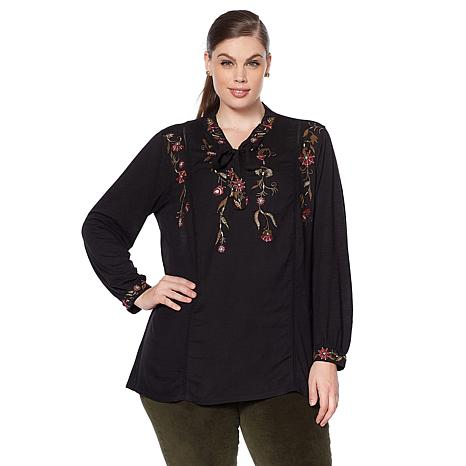 Lucky Brand Tie-Neck Embroidered Top - Plus