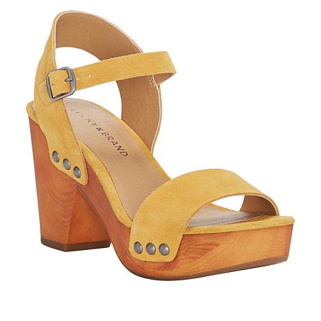 Lucky Brand Trisa Leather Wooden Heel Clog Sandal