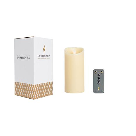 """Luminara 8"""" Unscented Wax Flameless Candle with Remote and Gift Box"""