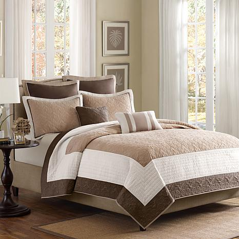 Madison Park Attingham 7-Piece Coverlet Set - King/Beige
