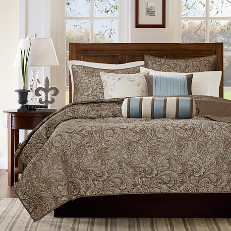 Madison Park Aubrey Blue 6pc Quilted Coverlet Set K/CK