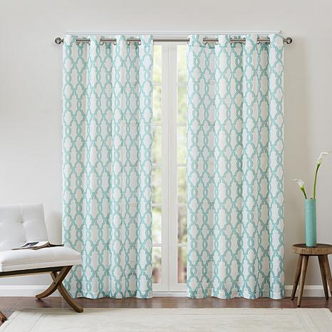 Madison Park Bond Fretwork Curtain Aqua Beige 50